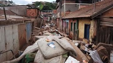 Streets covered in debris after flood devastates town