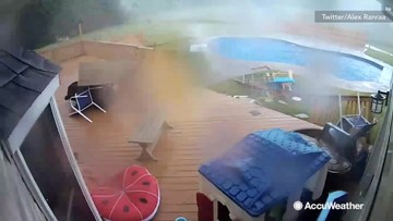 Tornado caught on security camera wreaking havoc to backyard