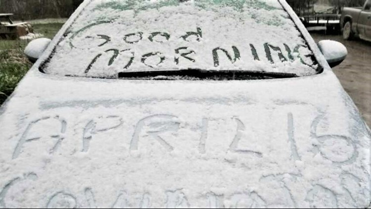 Midspring snowfall coats the Northeast