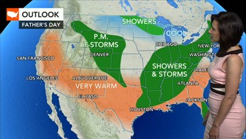 Where will the best weather be on Father's Day?