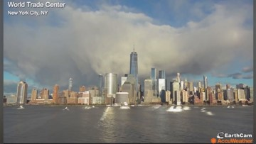 Timelapse captures magnificent rainbow and clouds over New York City