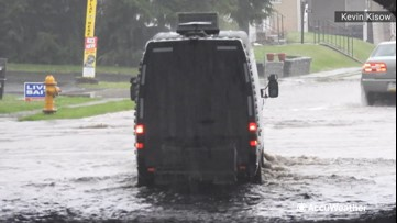 Roads and streets underwater during torrential flooding