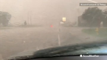 Torrential rain and hail cause flooding