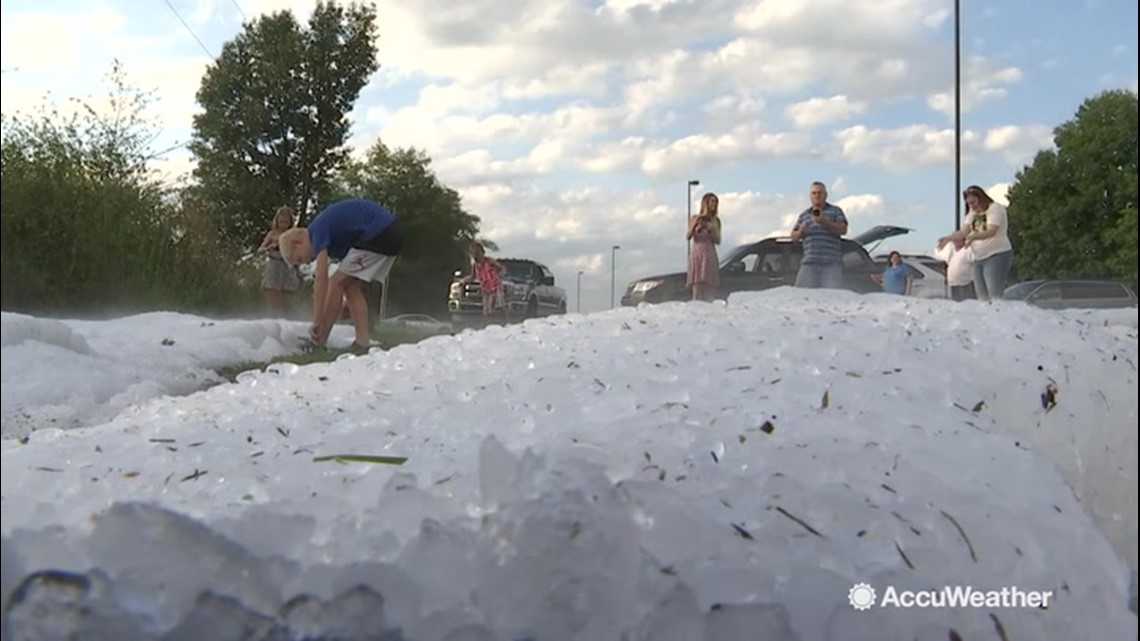 Hail builds up as storm takes its time leaving Kalamazoo County