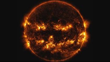 Spooky Shot of the Sun Channeling its Inner Jack-o'-Lantern