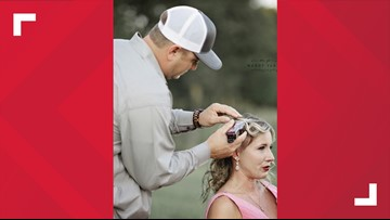 Turning an ugly disease beautiful: Husband helps wife shave hair in breast cancer photoshoot