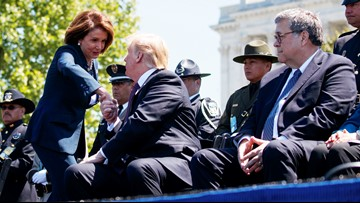 Barr asks Pelosi at police memorial: 'Did you bring your handcuffs?'