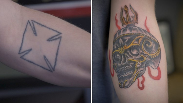 Before and after tattoo by Dave Cutlip