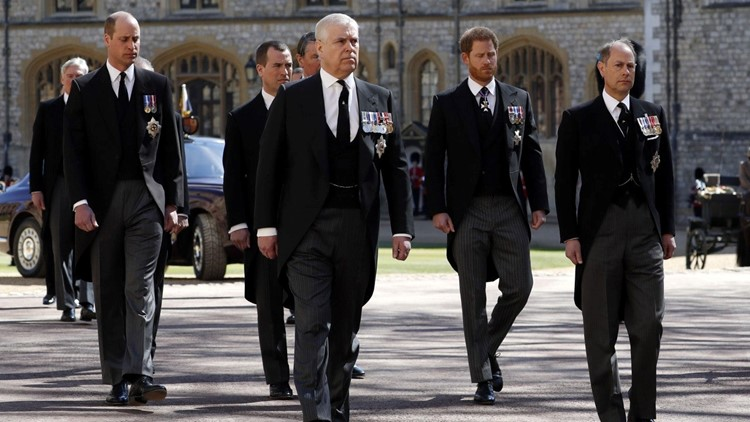 Prince Harry, Prince William and Kate Middleton Attend Prince Philip's Funeral