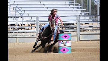 Barrel racer shows horsing around is hip