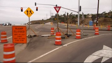 Caltrans construction closes lanes on SR-163 in Mission Valley