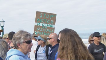 Dozens of Mission Beach residents protest electric scooters on sidewalks and boardwalk