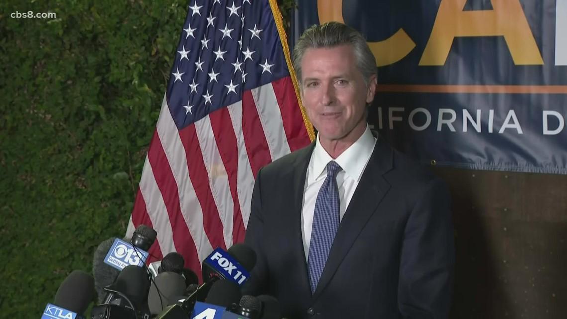 Governor Gavin Newsom speaks after recall effort in California fails