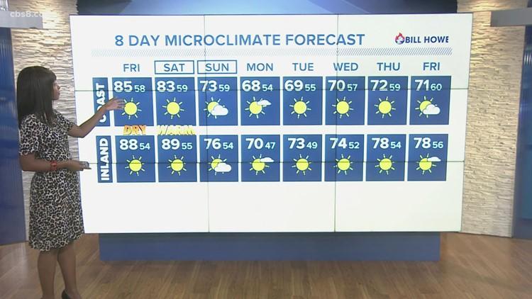 Clear skies remain as high pressure brings warmer temperatures and Santa Ana winds