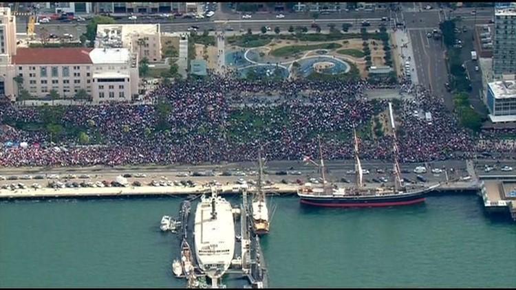 San Diego Women's March 2018 along harbor