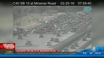 Major traffic delays after crash on I-15 in Miramar | cbs8 com