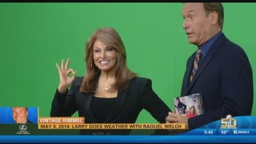 Vintage Himmel -  Larry does weather with Raquel Welch