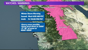 Winter Storm Warning issued as Thanksgiving storm takes aim at San Diego