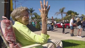 San Diego neighbors surprise 104-year-old veteran with drive-by birthday celebration