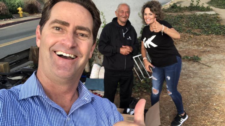 'One human helping another human' along La Mesa freeway