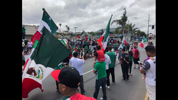 fans celebrating mexico soccer win in National City