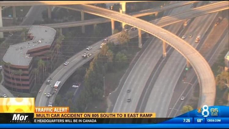 7:26AM UPDATE   Multi-vehicle crash snarls traffic on SB I-805
