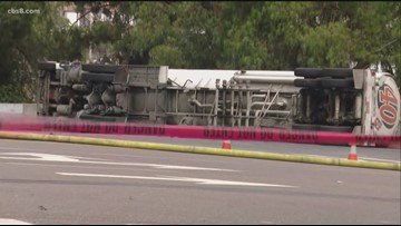 Tanker truck overturns in front of SDCCU Stadium