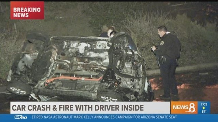 Car crashes, catches fire with driver inside in Miramar Ranch area