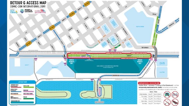 Comic-Con Detour and Access Map 2019