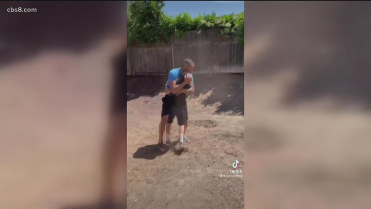 Sheer joy for son when he sees surprise basketball hoop in backyard