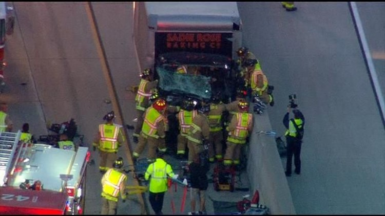 Crews rescue driver trapped in truck on I-15 | cbs8 com