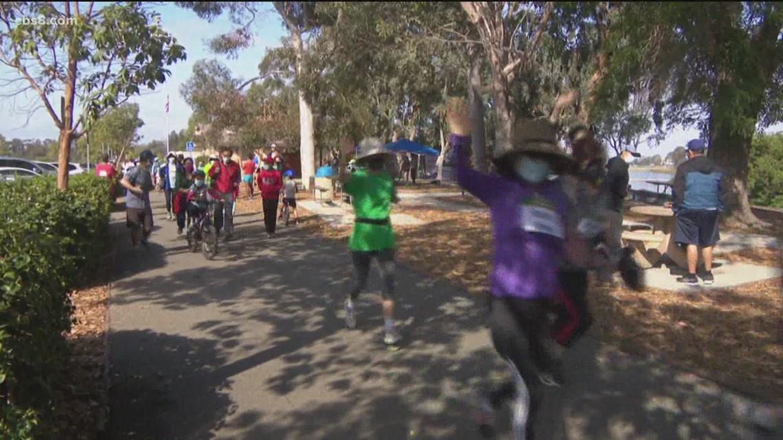 Runners at Miramar Lake for
