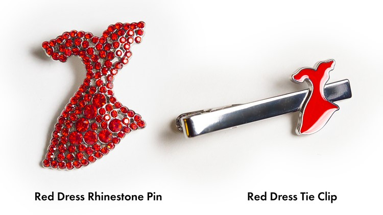 Red Dress Tie Clip and Red Dress Rhinestone Pin