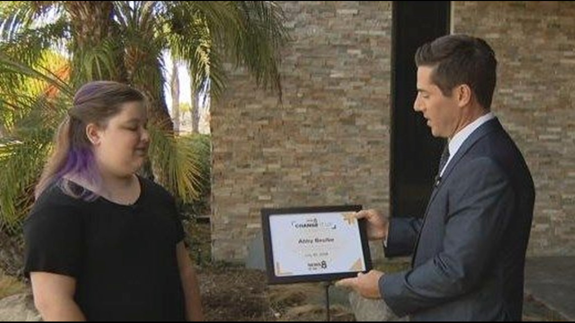 Change It Up: 11-year-old Abby Beulke honored for work with San Diego's homeless