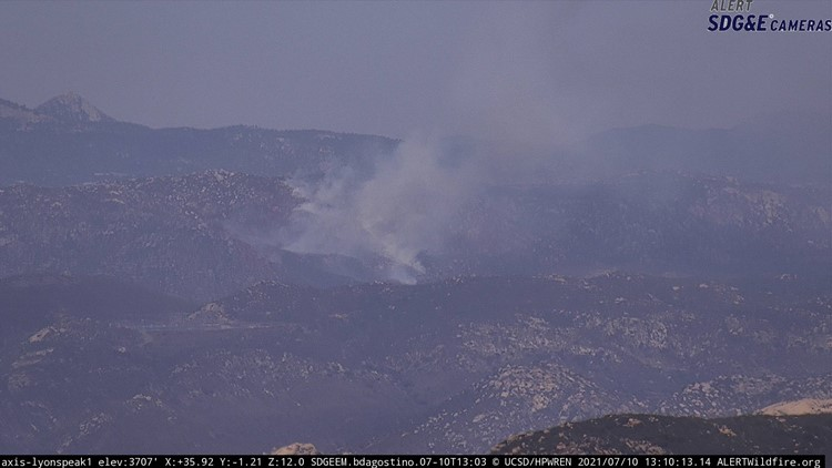 Forward rate of spread stopped on brush fire near Descanso