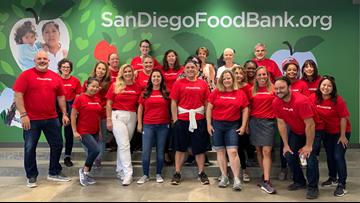 Team KFMB volunteers at the San Diego Food Bank