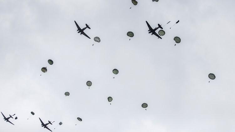 APTOPIX France D-Day Parachuting Over Normandy