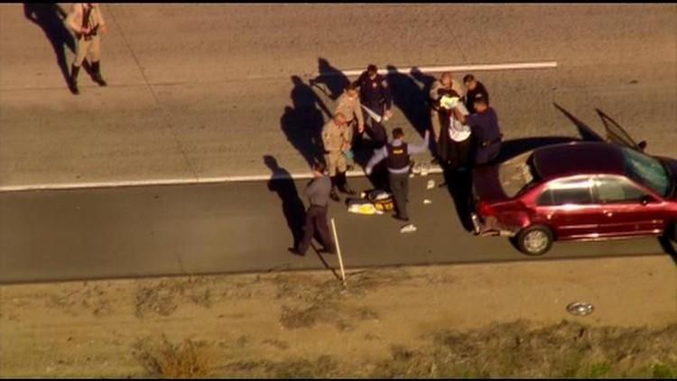 Suspect takedown on I-5
