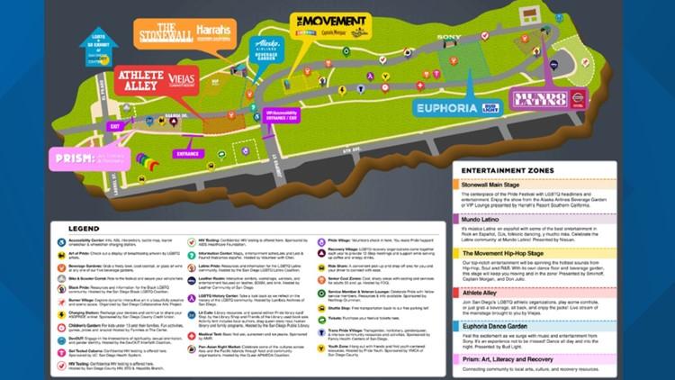 San Diego Pride 2019 Map