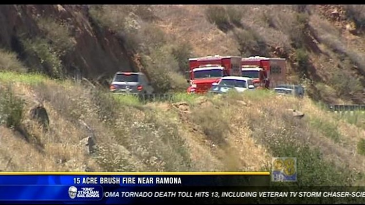 Crews battle brush fire near Ramona | cbs8 com
