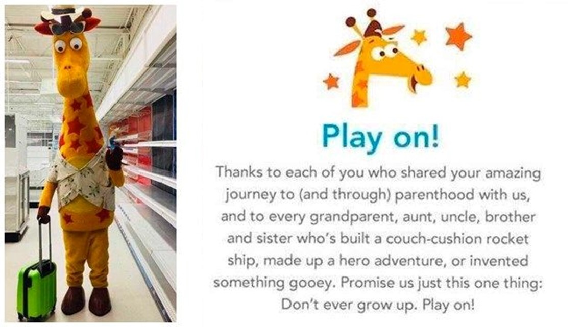 Photo Of Geoffrey The Giraffe Leaving An Empty Toys R Us Store Goes Viral Cbs8 Com