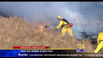 Crews battle brush fire in Chula Vista | cbs8 com