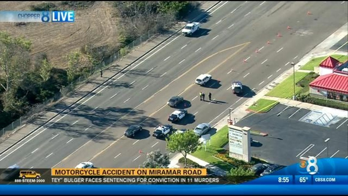 Motorcyclist in surgery after accident on Miramar Road   cbs8 com
