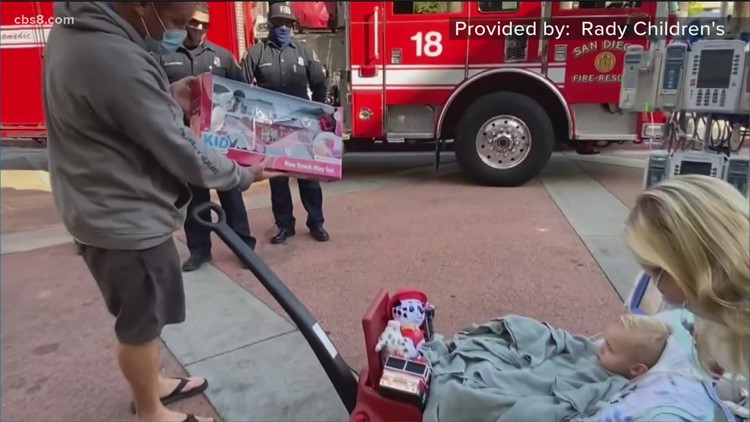 San Diego firefighters surprise boy at Rady Children's Hospital
