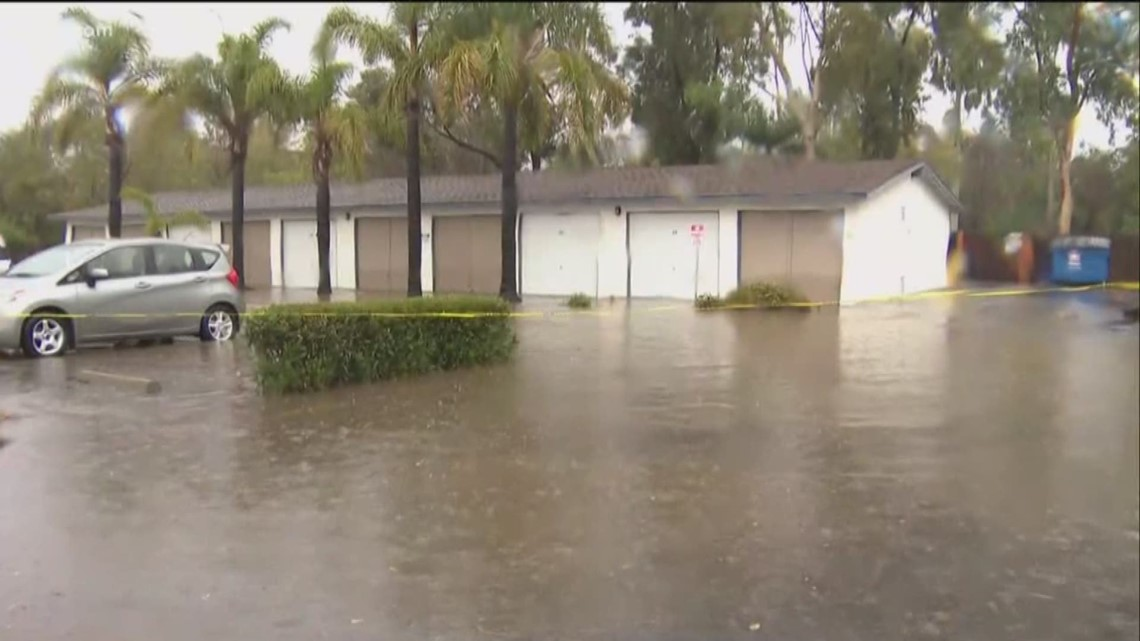 South bay apartment complex floods as storm moves through - Apartment complexes san diego ...