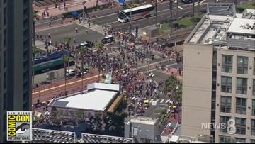 Look at that crowd! News 8 Chopper captures the San Diego Comic-Con view from above.