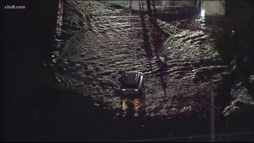 Six rescued after car gets stuck in flooded road in Mission Valley, near Fashion Valley Mall