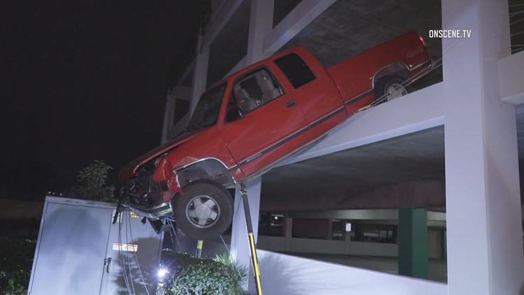 Driver arrested on suspicion of DUI after driving truck off San Marcos City Hall parking structure