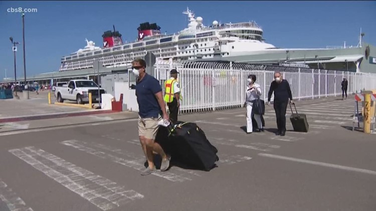 Cruise ship passengers disembark in San Diego