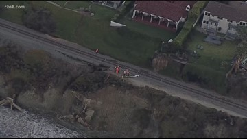 Train routes disrupted by bluff collapse near tracks in Del Mar